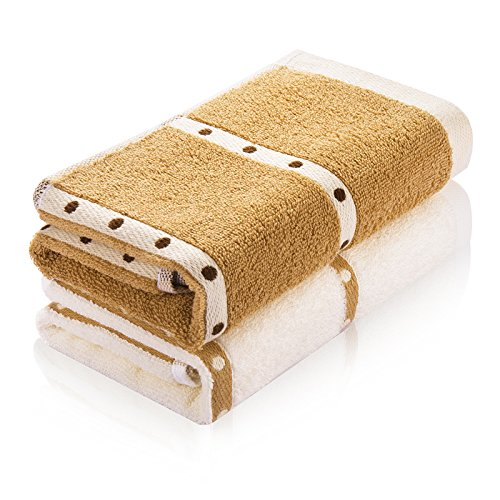 J & L フェイスタオル 2枚セット 2色 ホテルスタイル 100%綿 純天然 柔らかな肌触り 瞬間吸水 速乾 高品質 ベビー対応 (フェイスタオル)