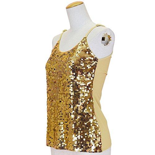 DFギャラリー キャミソール ダンス衣装 コスチューム スパンコール フロント片面 IA0128 ゴールド フリー
