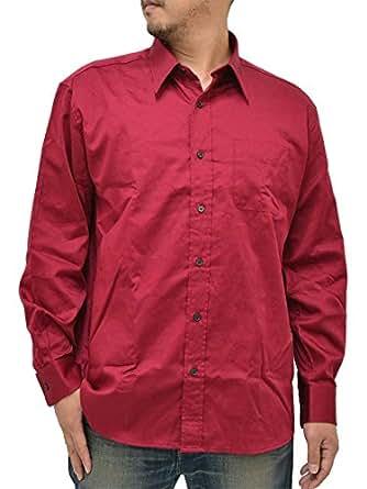 (マルカワジーンズパワージーンズバリュー) Marukawa JEANS POWER JEANS VALUE 大きいサイズ メンズ シャツ 長袖 無地 4color LL ワイン