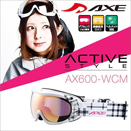 『50ga-012-cb』 15-16 アックス AX600-WCM WT スノーボードゴーグル スキー ゴーグル AXE スノーゴーグル 2015-2016 ダブルレンズ メガネ対応 曇り止め機能付き ヘルメット対応
