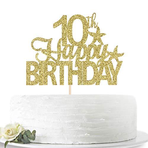 グリッターゴールド Happy 10th Birthday ケーキトッパー Hello 10 10歳のお誕生日パーティーサインデコレーション