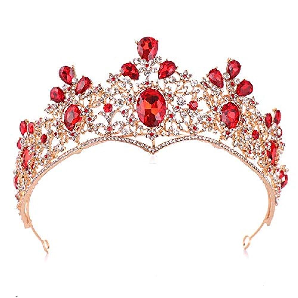 大人かわいらしい地殻王冠 ティアラ ヘア アクセサリー 手作りジュエリー貴族の王冠のヘッドドレス絶妙な雰囲気の花嫁のヘッドドレスの王冠 結婚式 誕生日 プレゼント に (Color : White+red, Size : 32*8cm)
