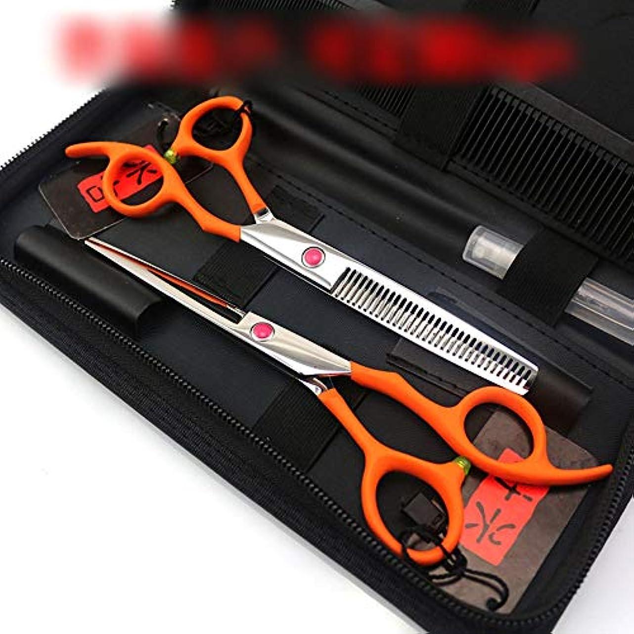 しっとり架空の夕食を作る6.0インチのオレンジ専門理髪はさみセット、ハイエンド専門理髪ツールセット ヘアケア (色 : オレンジ)