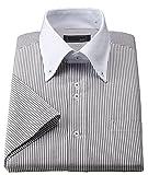 半袖デザインワイシャツ 形態安定 ワイシャツ Mサイズ (39) ロンドンストライプ(ブロックスストライプ) グレー×ブラウン 細く見えるストライプ柄 スリムタイプ クレリック ボタンダウン レギュラーカラー 2.5ボタン カジュアル 半袖ワイシャツ
