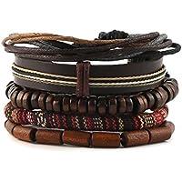 HZMAN Mix 4 Wrap Bracelets Men Women, Hemp Cords Wood Beads Ethnic Tribal Bracelets, Leather Wristbands