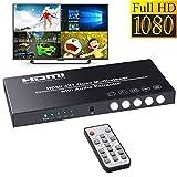 BLUPOW 1080P HDMI画面分割器 4入力1出力 マルチビューワー シームレス切り替え 多機能 HDMI切替分配器 リモコン付き! 監視用 テレビ専門店 売り場 株式市場 テレビゲームなど適用 VA561