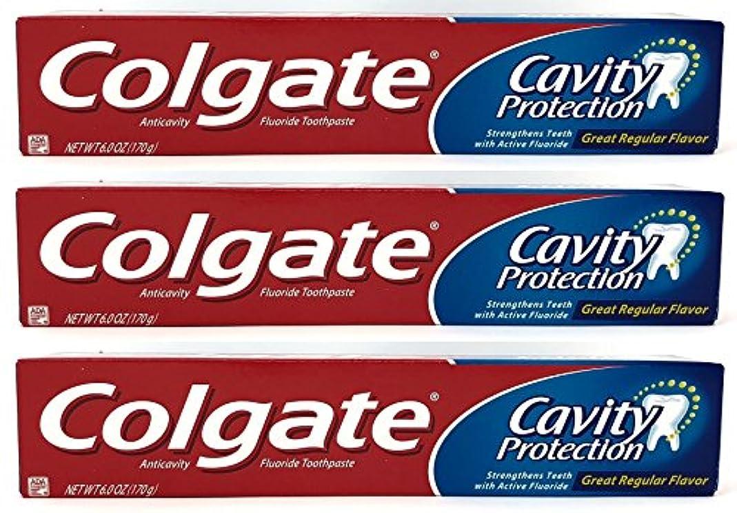 リゾート提供するエッセイColgate 空洞保護フッ化物の歯磨き粉、定期的なフレーバー、6.0オズ(3パック)