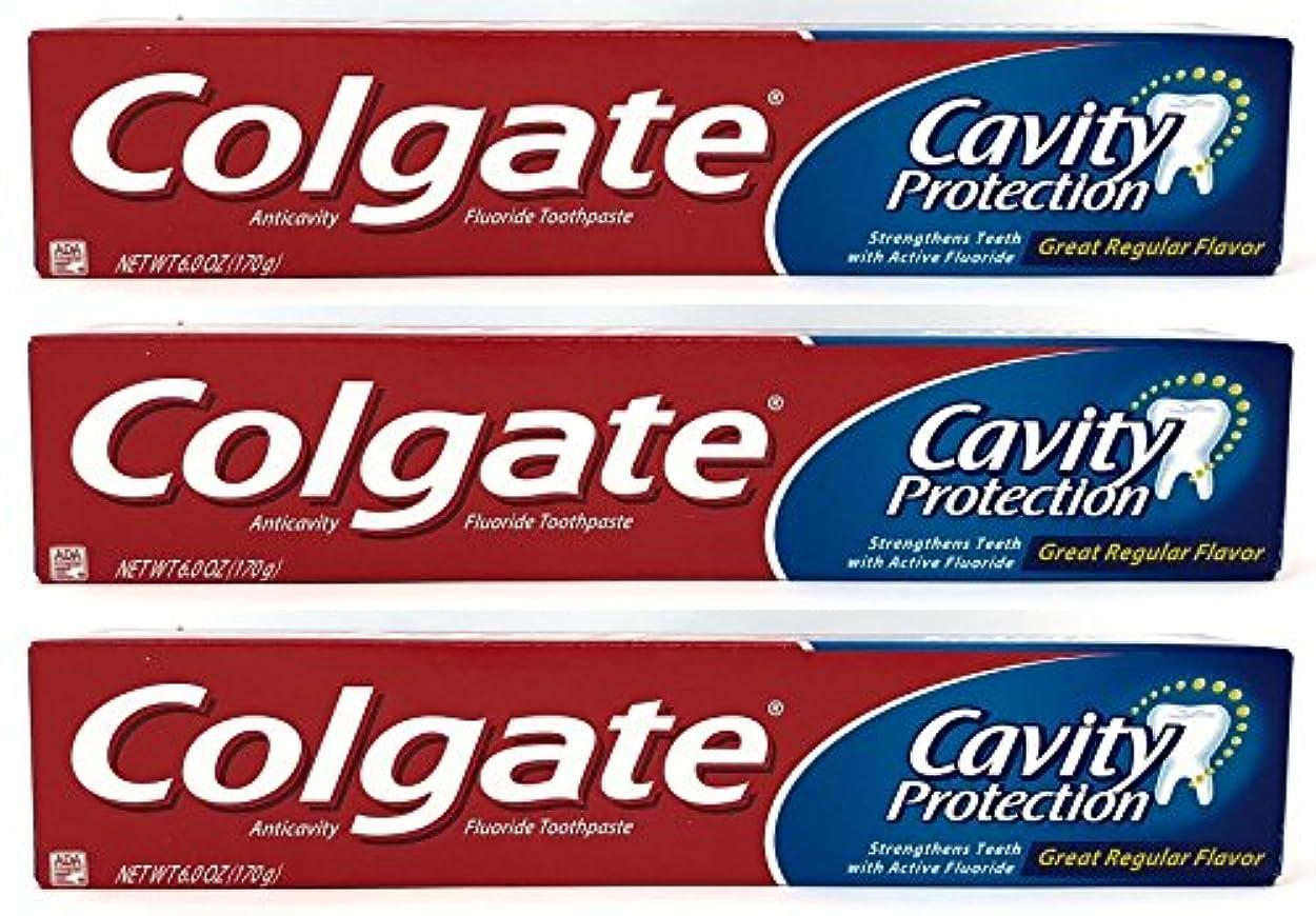 群がる粘性の配分Colgate 空洞保護フッ化物の歯磨き粉、定期的なフレーバー、6.0オズ(3パック)