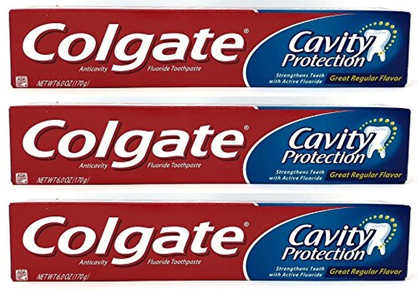 信仰高尚な人差し指Colgate 空洞保護フッ化物の歯磨き粉、定期的なフレーバー、6.0オズ(3パック)