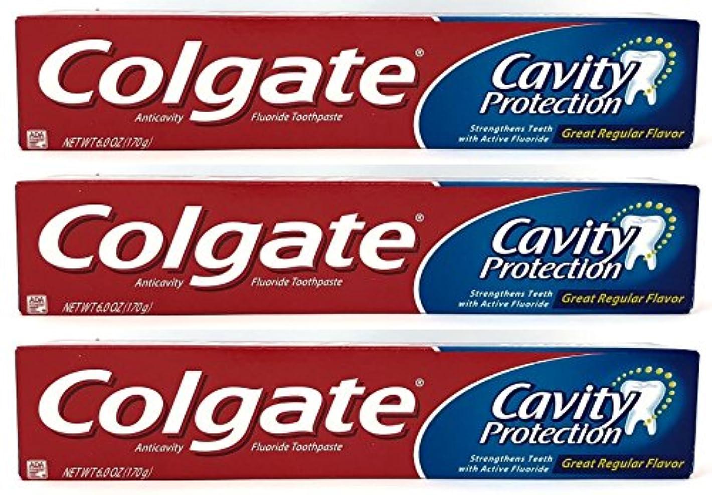 ぶどう縫い目苦痛Colgate 空洞保護フッ化物の歯磨き粉、定期的なフレーバー、6.0オズ(3パック)