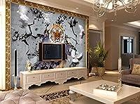 QUDMST 3Dリビングルームテレビソファ背景壁画壁紙カスタム壁紙3Dタイガー速報壁テレビソファ背景壁リビングルームの寝室の背景壁画-300x210cm