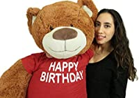 5 Foot Teddy Bear Wears Removable Happy Birthday Tshirt Soft Cookie Dough Brown Color [並行輸入品]