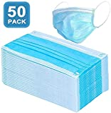 マスク 50Pcs Disposable 3-Layer Masks, Anti Dust Breathable Disposable Earloop Mouth Face Mask, Comfortable Medical Sanitary Surgical Mask
