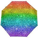 JSTEL Rainbow Colored Glitter Sparkle Umbrella Auto Rain Windproof Compact 3 Folding Travel Umbrella UV Protection