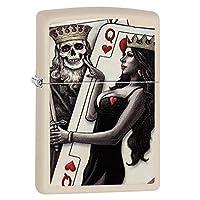 【ZIPPO】 ジッポーライター オイル ライター トランプ スカル柄 Skull King Queen Beauty クリ-ムマット 29393