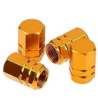 Liebeye ステンレススチールタイヤバルブキャップ 自動車ヘキサゴンホイールタイヤバルブキャップ 自動装飾アクセサリー カラフルな 4本 ゴールド