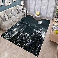 """モダンなドアマット 内側に抽象的な幾何学的な未来的なモダンなイメージのストライプと不明な背景 浴槽用バスマット バスルームマット ブルーとホワイト 5'8""""x6'6"""" (W170cm x L200cm)"""