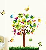 【 お得な2枚セット 】 ウォールステッカー カラフルツリー 木 鳥 蝶 & ブルー フィッシュ 彩木 & お魚
