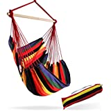 (Hot Colors) - Large Brazilian Hammock Chair by Hammock Sky - Quality Cotton Weave for Superior Comfort & Durability - Extra Long Bed - Hanging Chair for Yard, Bedroom, Porch, Indoor / Outdoor (Hot Colours)
