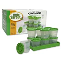 Baby Food Containers By Little Sprout: Reusable Stackable Storage Cups with Tray and Dry-erase Marker (Set of 12 - 2oz) - Green by Sprout Cups