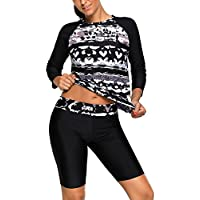 EVALESS Women's Black Monochrome Abstract Print 2pcs Long Sleeve Wetsuit With Pants