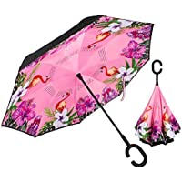 Flamingo ReverseInverted Umbrella Automatic Open Double Layer Windproof Umbrella with C-Shaped Handle Self Standing for Travelling and Car Use