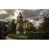 インディアナ州、ノートルダム大学、アメリカ、樹木、雲、夕暮れ キャンバスの 写真 ポスター 印刷 旅行 風景 景色 - (105cmx70cm)