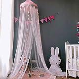 天蓋カーテン お姫様蚊帳 ベビールーム飾り ベッドカーテ ン モスキートネット 取り付け道具付き 60 * 300cm 可愛い