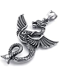 [テメゴ ジュエリー]TEMEGO Jewelry メンズステンレススチールヴィンテージペンダントゴシック翼竜ネックレス、ブラックシルバー[インポート]