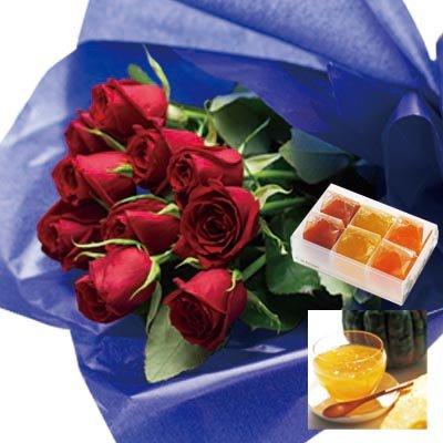 誕生日 お祝い の 花 お 花 と スイーツ おしゃれ ギフト セット エレガント レッドバラ 花束 と 国産野菜とフルーツの無添加ゼリー詰合せ 6個 メッセージカード 還暦祝い 結婚祝い 古希 喜寿 人気 プレゼント ランキング ギフト (SE)