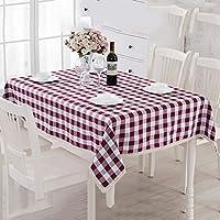 テーブルクロス ヨーロッパの格子の布の長方形のテーブルのコーヒーテーブルクロスリビングルームレストランのテーブルクロス ( 色 : Burgundy , サイズ さいず : 140*140cm )