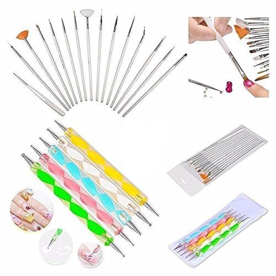 バスルーム歌詞失礼なBoolavard® 20pc Nail Art Manicure Pedicure Beauty Painting Polish Brush and Dotting Pen Tool Set for Natural, False, Acrylic and Gel Nails