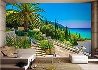 Mbwlkj 3D 写真の壁紙壁画のギリシャの島の壁の壁画の風景壁画風景エンボス加工されたベッドルームスタディバスルームキッチンテレビ-250Cmx175Cm