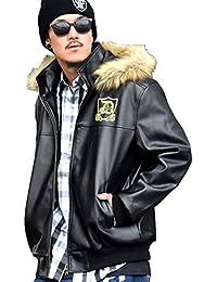 (ディーオーピー) DOP PUレザージャケット メンズ 中綿入り フェイクファー フード 取り外し可 大きいサイズ b系 ストリート系