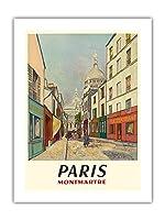 パリ、フランス - モンマルトル - 聖心 - ルーデュシュヴァリエ・デ・ラ・バレ - ビンテージな世界旅行のポスター によって作成された モーリス・ユトリロ c.1953 -プレミアム290gsmジークレーアートプリント - 46cm x 61cm
