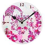 【Amazon.co.jp限定】Kayo Horaguchiコラボレーション グラスクロック 置き・掛時計(直径20cm) ピンク
