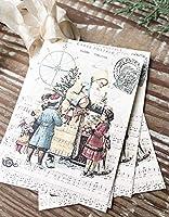 WoodSign マーサフォックス クリスマス ビンテージ ギフト タグ サンタクロース 聖ニック 子供 コンパス 農家 クリスマスデコレーション カード フレンチ シャビー ギフトラップ