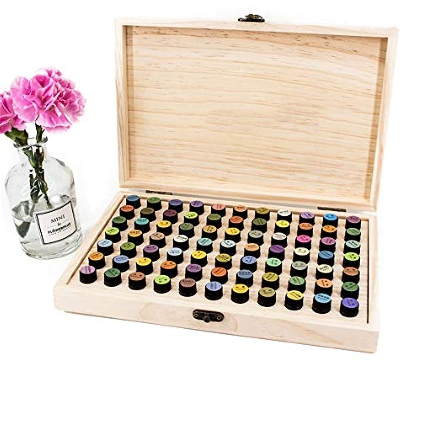 祖母喜びシリングアロマセラピー収納ボックス 2ディスプレイウッドオイルボックス72個のスロットオーガナイザーを格納するためのバイアルmlの エッセンシャルオイル収納ボックス (色 : Natural, サイズ : 29X19X4CM)