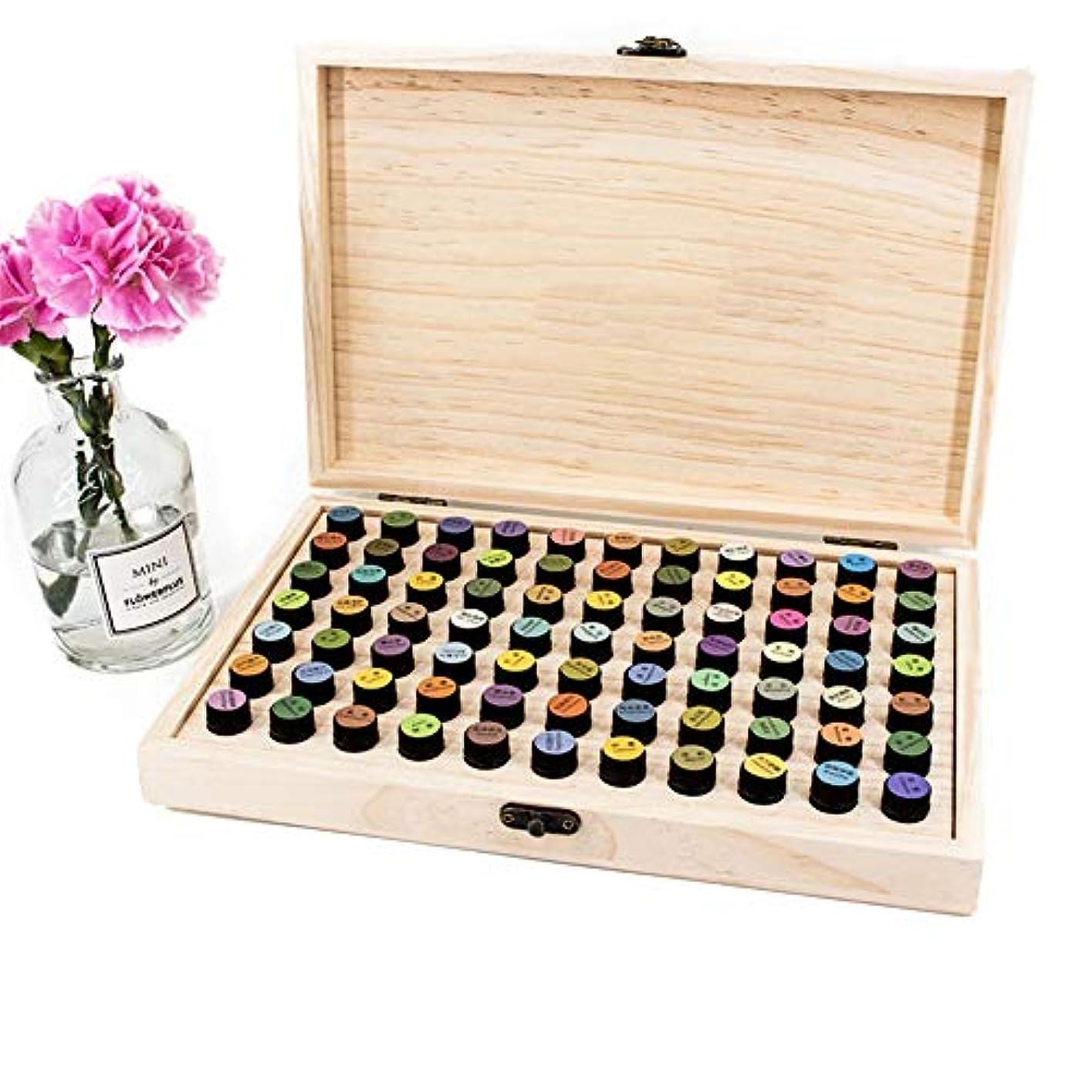 おばさん休眠誓約エッセンシャルオイルボックス 2ディスプレイウッドオイルボックス72個のスロットオーガナイザーを格納するためのバイアルmlの アロマセラピー収納ボックス (色 : Natural, サイズ : 29X19X4CM)