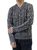 ケーブル編み メンズセーター ニット ビッグサイズ LLサイズ限定 ボーダーニット ジャガードニット 長袖セーター ブラックMIX LLサイズ