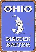 なまけ者雑貨屋 [Ohio Bass Fishing Master Baiterアンティーク風 デザインボード ブリキ看板 メタル (30×40cm)