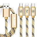 ライトニングケーブル Loonfree USB Type-Cケーブル 3in1 充電ケーブル USB Type C/ライトニング/Micro USB ケーブル 3A急速充電 iOS/Android 同時給電可能 iPhone8 8plus 7 7 plus/6 6s plus/iPad/Macbook 1本3役 多機種対応 1.2m ゴールデン