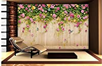 Ansyny 写真壁紙壁画ピンクバラ花木材背景壁-280X180CM
