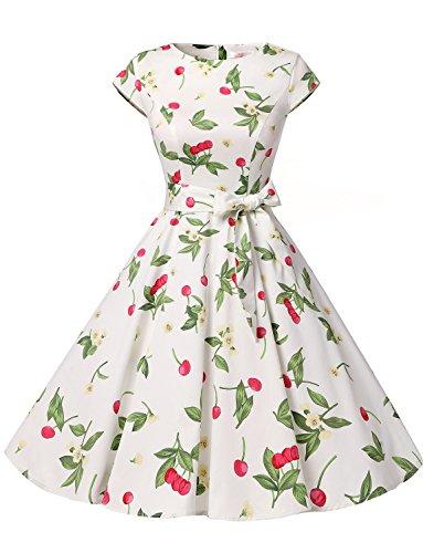 ドレッシースター 1956スイングワンピース ドレス 50年代 ベルト付き レディーズ チェリー スリー XSサイズ