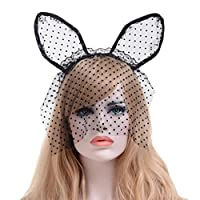YiyiLai ハロウィン コスプレ 小物 パーティー コスチューム 小道具 カチューシャ レース マスク 舞踏会 猫 ブラック