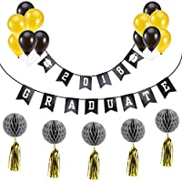 2018 graduation party decoration graduate banner and balloons tassel