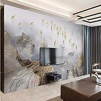 Wuyyii カスタム壁紙壁画の寝室の抽象的な中国のユーモアの風景ゴールデンライン飛んでいる鳥の壁の背景-280X200Cm