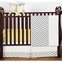 Gray and Yellow Chevron Zig Zag Unisex Baby Bedding 4 Piece Girl or Boy Crib Set Without Bumper [並行輸入品]