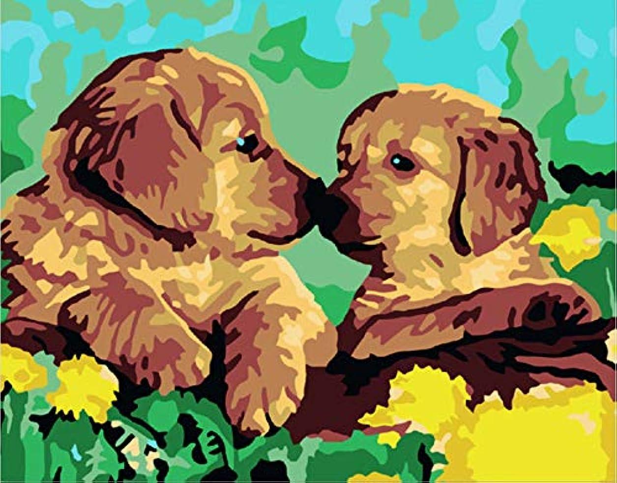 びっくり受粉するコンチネンタルHuihuart DIYの油絵(フレームを組み合わせた)、装飾的な絵画 数字によるDIYの着色写真と数字による犬の家族の絵の描画40x50cm