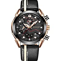 Mans Watch Waterproof Sports Quartz-SUNVEN Watches for Men Water Resistant 30M Black Leather Strap Chronograph and Calendar Military Style